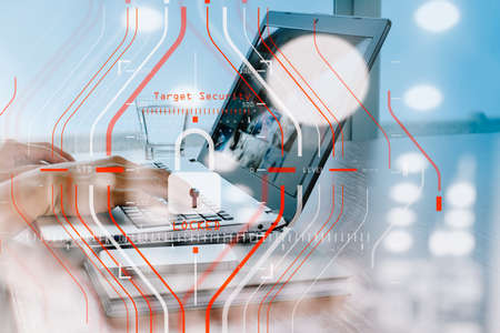 Foto für double exposure of business documents on office table with smart phone and digital tablet and stylus and two colleagues discussing data in the background - Lizenzfreies Bild