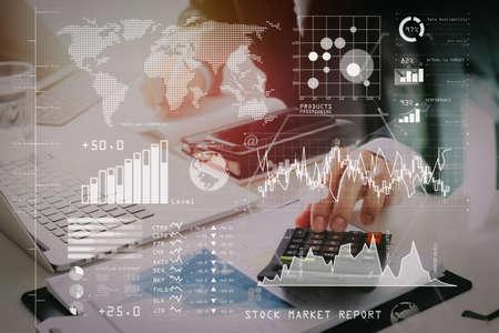 Foto de Investor analyzing stock market report and financial dashboard with business intelligence (BI), with key performance indicators (KPI). - Imagen libre de derechos
