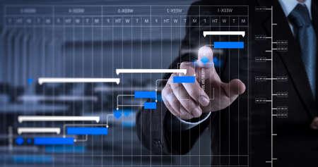 Foto de Project manager working and update tasks with milestones progress planning and Gantt chart scheduling diagram.Businessman hand pressing an imaginary button on virtual screen. - Imagen libre de derechos