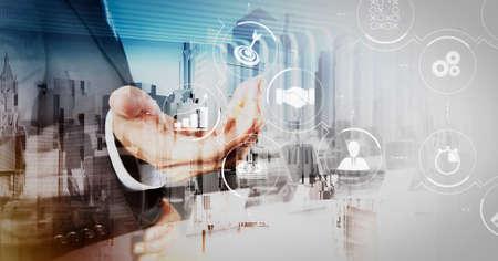 Foto de Business process management with workflow automation diagram and gears in virtual flowchart.businessman and abstract city as concept - Imagen libre de derechos