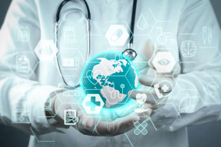 Foto de Health care and medical services concept with flat line AR interface.Medicine doctor working with modern computer interface - Imagen libre de derechos