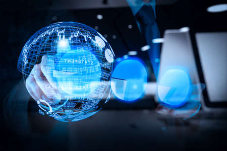 Photo pour Intelligence (BI) and business analytics (BA) with key performance indicators (KPI) dashboard in VR globe form concept.double exposure of businessman hand touch virtual pie chart as concept business success - image libre de droit