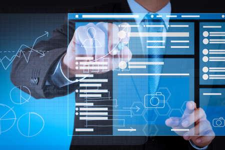 Foto de Web page browser of Social media Page VR Interface on the laptop computer.businessman hand working on modern technology business - Imagen libre de derechos