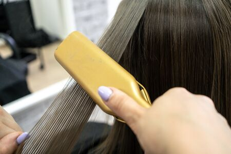 Photo for Cute girl with long brunette hair hairdresser doing hair lamination in a beauty salon. concept of hair care treatment, close-up. - Royalty Free Image