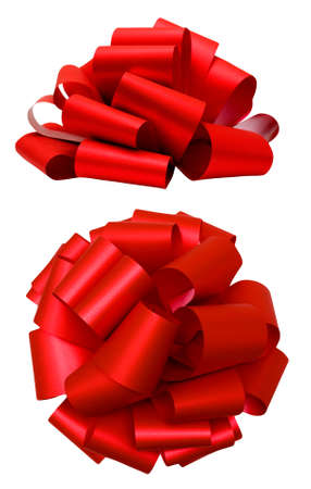 Photo for Red lush bow isolated over white with clipping path; side and top view - Royalty Free Image