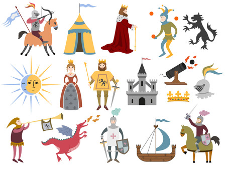 Illustration for Big set of cartoon medieval characters and medieval attributes on white background. Vector illustration. - Royalty Free Image
