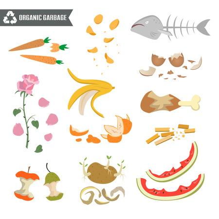 Ilustración de Organic trash on white background. Ecology and recycle concept. Vector Illustration. - Imagen libre de derechos