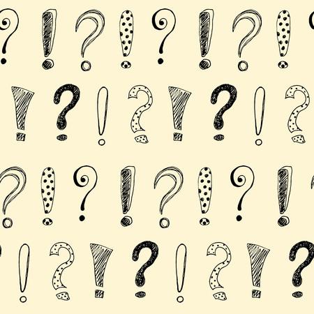 Ilustración de Seamless pattern with hand drawn exclamation marks and question mark. Vector illustration. - Imagen libre de derechos