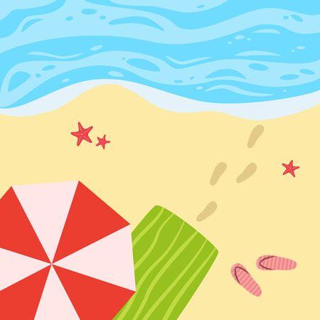 Ilustración de Cartoon background of sea shore. Vector illusyration. - Imagen libre de derechos