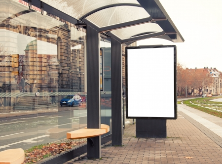 Photo pour Billboard, banner, empty, white at a bus stop - image libre de droit