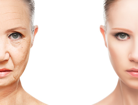 Photo pour concept of aging and skin care. face of young woman and an old woman with wrinkles - image libre de droit