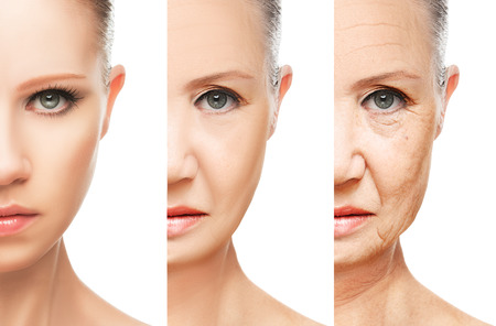 Foto de concept of aging and skin care. face of young woman and an old woman with wrinkles isolated - Imagen libre de derechos