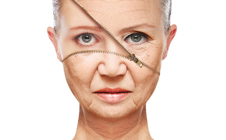 Foto per beauty concept skin aging. anti-aging procedures, rejuvenation, lifting, tightening of facial skin, restoration of youthful skin anti-wrinkle - Immagine Royalty Free