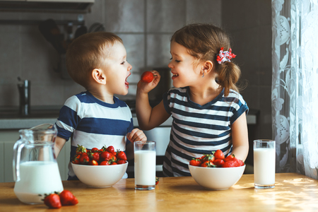 Photo pour Happy children girl and boy brother and sister eating strawberries with milk - image libre de droit