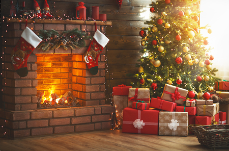 Photo for interior christmas. magic glowing tree, fireplace and gifts - Royalty Free Image