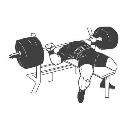 Illustration for powerlifting bench press figure on isolated white background - Royalty Free Image
