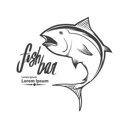 fish template, simple illustration, fishing concept, tuna