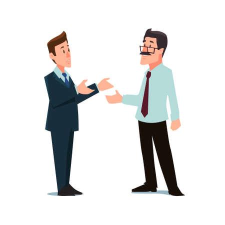 Illustration pour cartoon characters, businessmen, collaboration, teamwork negotiation, vector illustration - image libre de droit