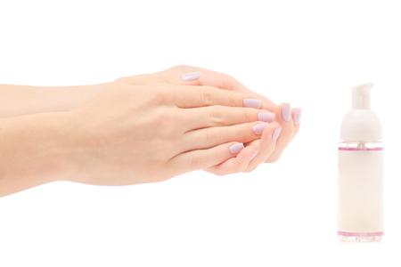 Photo for Female hand antiseptic hand foam on white background isolation - Royalty Free Image