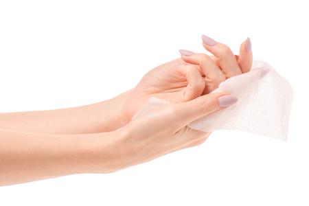 Foto de Female hand wet wipe on white background isolation - Imagen libre de derechos
