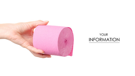Photo for Toilet paper pink in hand pattern on white background isolation - Royalty Free Image