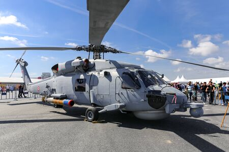 Foto de ISTANBUL, TURKEY - SEPTEMBER 23, 2018: Turkish Navy Sikorsky S-70B Seahawk in Teknofest Istanbul Aeronautics, Space and Technology Festival - Imagen libre de derechos