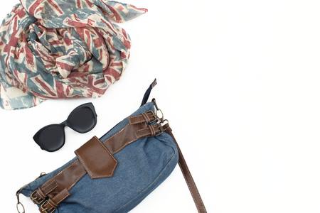 Photo for Set of women accessories Scarf Handbag Sunglasses Belt. Womens fashion flat lay - Royalty Free Image