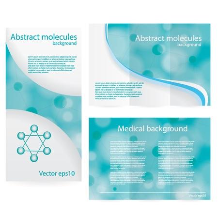 Illustration pour Abstract molecule blue green background - image libre de droit
