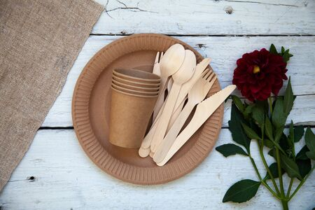 Photo pour Eco-friendly disposable paper tableware. Party, picnic and camping concept, camping utensils - image libre de droit