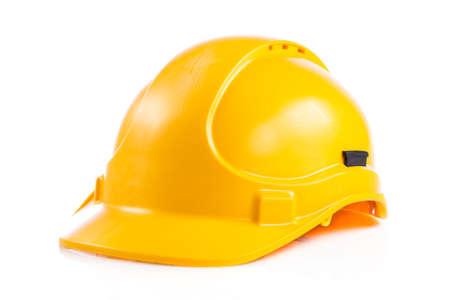 Foto de Yellow safety helmet on white background.  hard hat isolated on white - Imagen libre de derechos