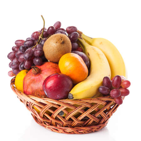 Photo for fruit in basket isolated on white background - Royalty Free Image