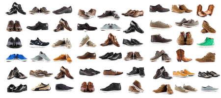 Photo pour Collection of male shoes over white background - image libre de droit
