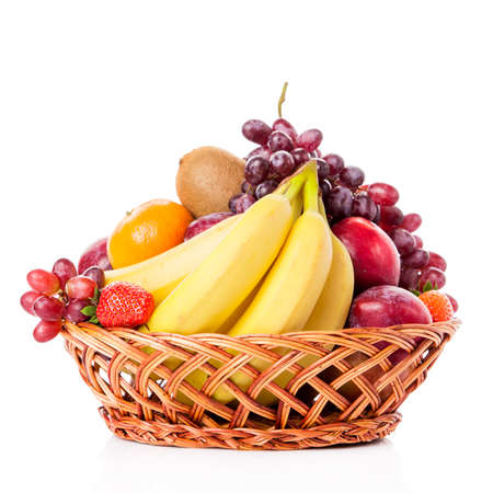 Photo for Fruits  in the basket. assorted fruits in wicker basket - Royalty Free Image