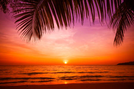 Photo pour sunset and beach.  Beautiful sunset above the sea - image libre de droit