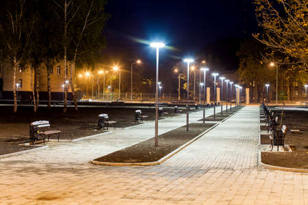 Photo for public Park infrastructure, night lighting, alley - Royalty Free Image