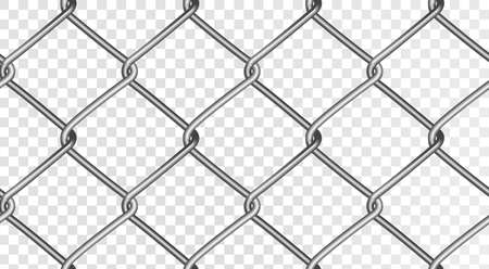 Illustration pour The structure of a realistic mesh fence. Seamless vector fence, isolated on a transparent background. Vector eps 10. - image libre de droit