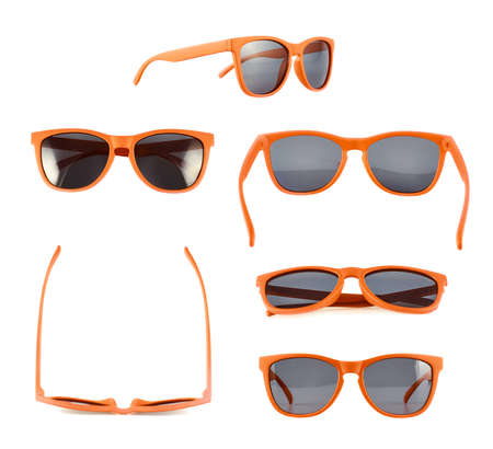 Foto de Orange sun glasses isolated over the white background, set of six different foreshortenings - Imagen libre de derechos