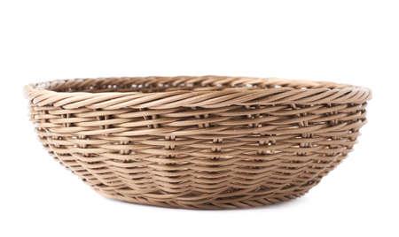 Foto de Empty fruit wicker brown basket bowl isolated over the white  - Imagen libre de derechos