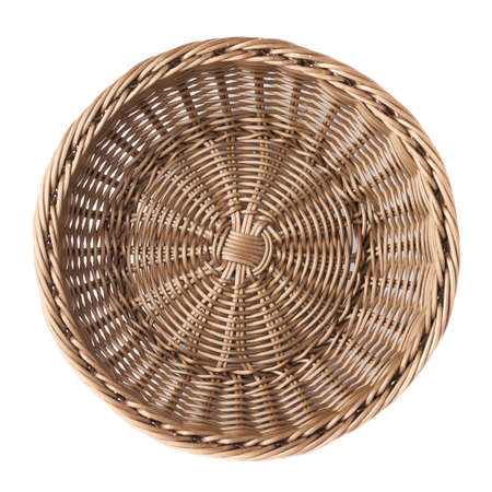 Photo for Empty fruit wicker brown basket bowl isolated over the white background, top view above foreshortening - Royalty Free Image