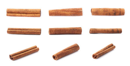 Photo for Set of multiple single cinnamon sticks isolated over the white background - Royalty Free Image