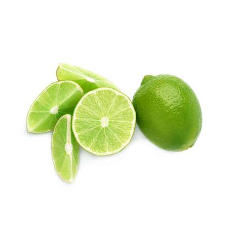 Foto de Served lime fruit composition isolated over the white background, top view - Imagen libre de derechos