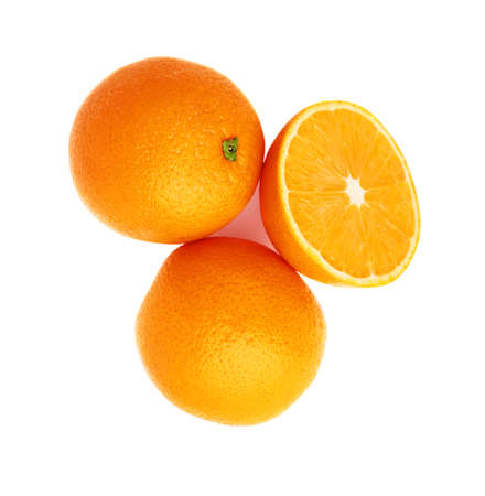 Photo for Served orange fruit composition isolated over the white background, top view - Royalty Free Image