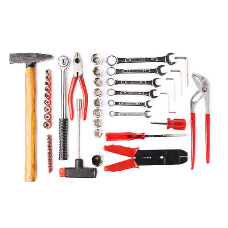 Photo pour Set of different work tools over white isolated background - image libre de droit