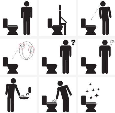 illustration signs for cleaning of toilette / water closet (w.c.) after using it