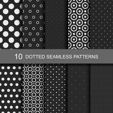Illustration pour Collection of black seamless patterns with circles and dots. - image libre de droit