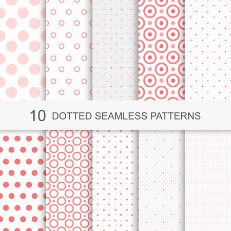 Illustration for Set of charming seamless patterns with dots - Royalty Free Image