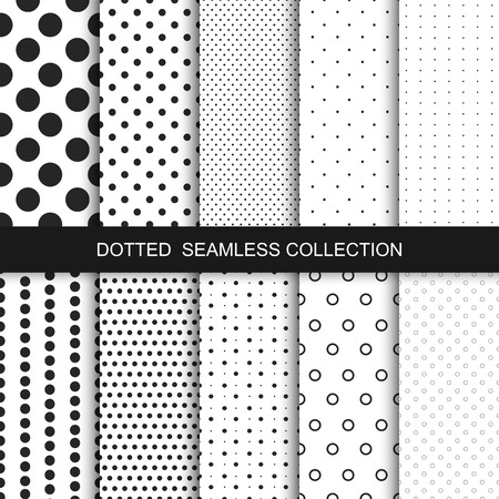 Photo pour Simple dotted patterns. Seamless vector collection. Black and white texture. - image libre de droit