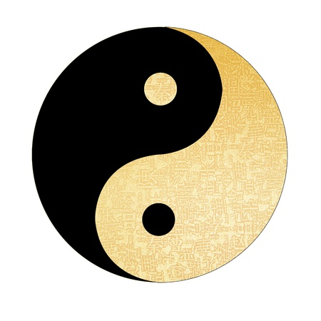 Photo for Yin-Yang symbol with chinese letter, The sign of the two elements.  - Royalty Free Image
