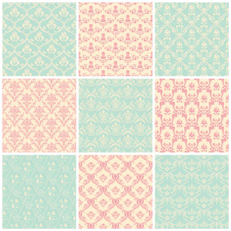 Illustration for Backgrounds set. Seamless wallpaper floral vintage pastel colors - Royalty Free Image