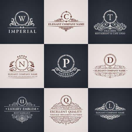 Illustration for Luxury logo set. Calligraphic pattern elegant decor elements. Vintage vector ornament - Royalty Free Image